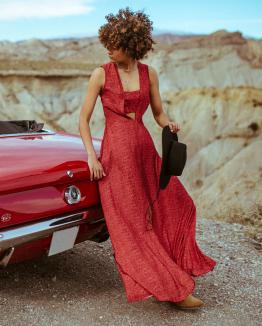 Burgundy Coachella dress